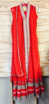 Red Anarkali with delicate zari work