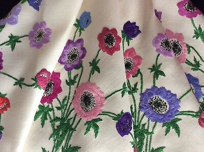 Exquisite Vintage Irish Linen Large Hand Embroidered Tablecloth ~ Anemones