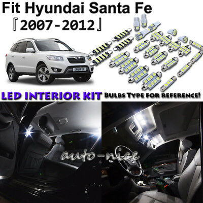 11x White LED Interior Lights Package Kit For 2007 - 2011 2012 Hyundai Santa Fe