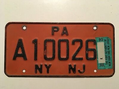 1990 Port Authority New York & New Jersey License Plate Unusual 2 Jurisdictions!