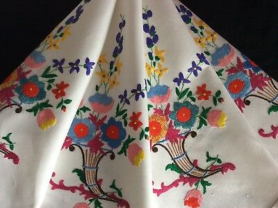 Gorgeous Vintage Linen Hand Embroidered Tablecloth ~ Vibrant Floral Displays