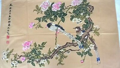 Vintage Springmaid Wondercale 80s Pillow Case Asian Birds & Branches Flower USA