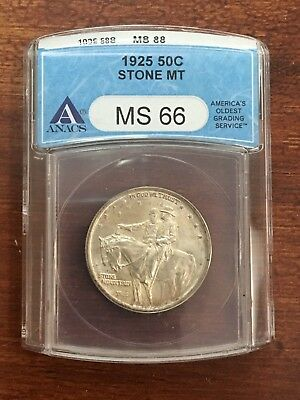 1925 Stone Mountain Silver Commemorative Half Dollar Anacs Ms66 Great Eye Appeal