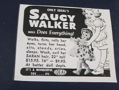 Orig. Magazine Ad..[1953 ]..SAUCY WALKER--<IDEAL'S DOLL FOR YOUNG GIRLS>