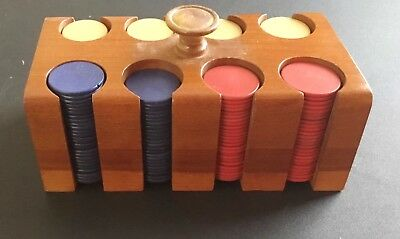 "Rare Vintage ""Complete Set"" Wood Poker Chips"