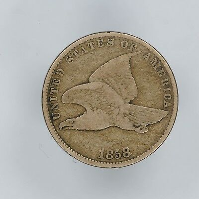 1858 Flying Eagle Cent 1C Small Letters Us Mint Error Turned/rotated Rev 90 Deg