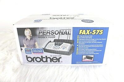 NIB Brother Personal Fax Machine FAX-575 Plain Paper Copier Phone 10 Page Auto