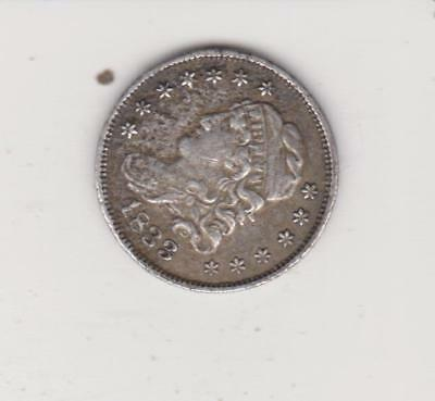 1833 Bust Style Half Dime--  Very Nice Detail Solid Strike Great Star Detail