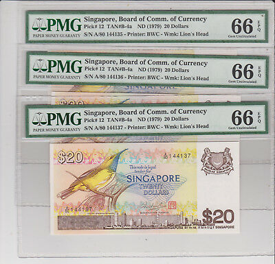 Singapore ND(1979) 20$ bird series last A/80 prefix 3runs P-12 all PMG 66EPQ rar