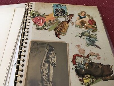 Antique Vintage Victorian Scrap Book  die cut outs & Cards