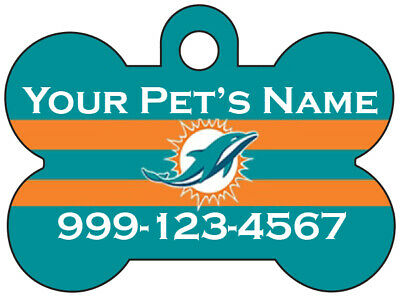 Miami Dolphins Custom Pet Id Dog Tag Personalized w/ Name & Number