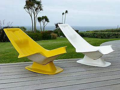 Consortium : Pair Of Chairs Long 1970 Edition The Plastics Of Bourgogne 70's