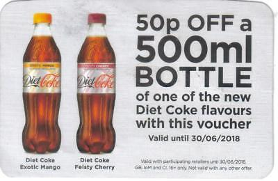 15x 50p off 500ml bottle of Diet Coke new flavours only - Valid until 30/06/18