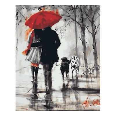 DIY Oil Painting Paint By Numbers Kit On Canvas for Adults Kids Rain Walking
