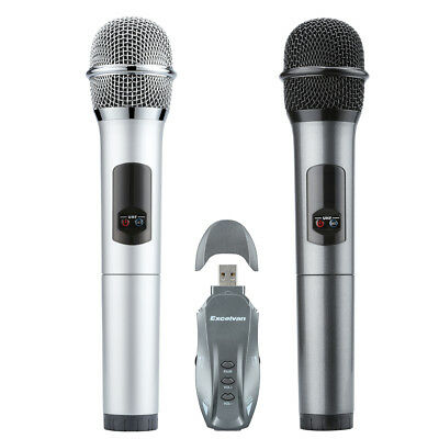 10CH Professional Wireless 2 Handheld Microphone Mic+Receptor For Home Party KTV