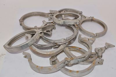 Lot of 10 Pipe Clamps, Mixed Sizes