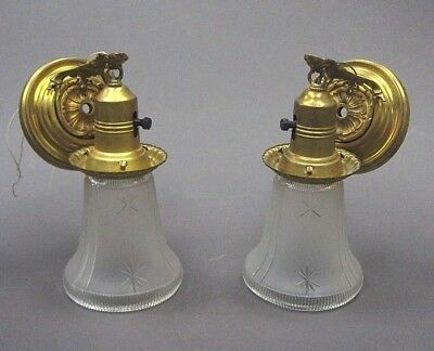 Pair of Antique Wall hanging light fixtures brass old shades 1920's