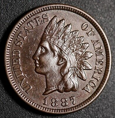 1887 INDIAN HEAD CENT - With LIBERTY & Near 4 DIAMONDS - AU UNC