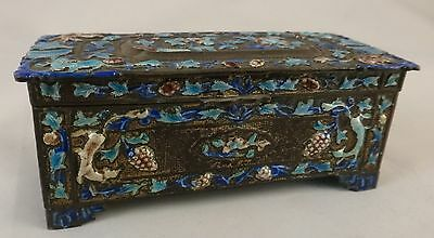 """Vintage Chinese Enameled Copper Footed Box. 4"""" x 1 5/8"""",  Early 20th cent"""