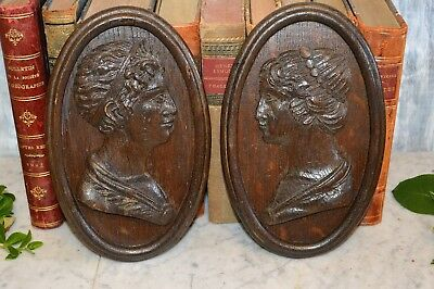 Antique Pair German Black Forest Carved Wood Figural Male Female Plaques Framed