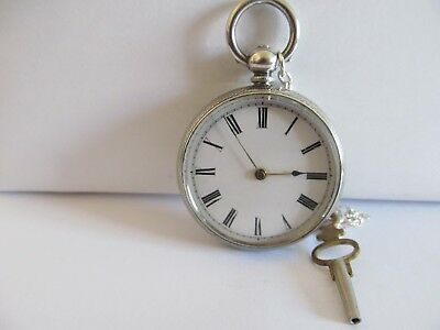 1874 fob pocket watch fine silver fantastic condition and working + a key