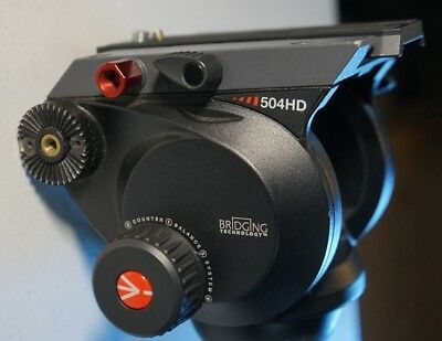 Manfrotto 504HD Video Fluid Head - Supports 19 lbs with Pan handle & New plate