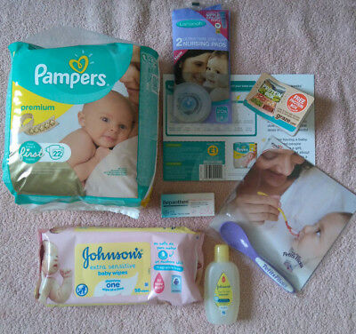 BABY KIT Pampers Nappies Johnson's Wipes & Baby Bath, Bepanthen Cream & More NEW
