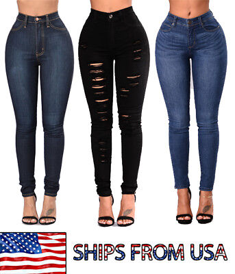 Womens Stretch High Waist Skinny Jeans Denim Slim High Rise Stretchy Jeggings