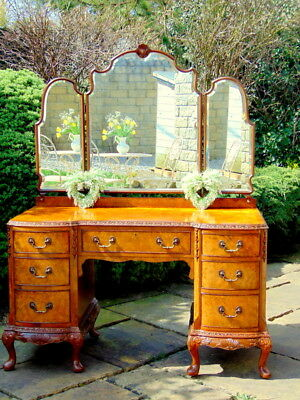 VINTAGE - Dressing Table FRENCH Country RUSTIC with Triple Mirror - BEAUTIFUL