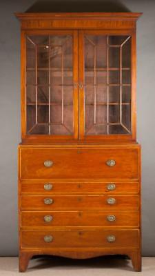 GEORGIAN MAHOGANY SECRETARY BOOKCASE ON CHEST, Eng Lot 372