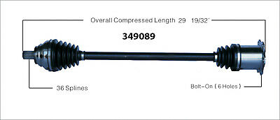 CV Axle Shaft-New Front Right WorldParts 349089