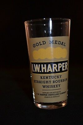 I.W. Harper Kentucky Straight Bourbon Whiskey Collins Style Glass Made in France