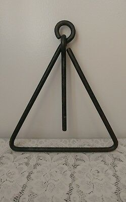 Vtg Cast Iron Triangle Cowboy Dinner Bell Hanging Western w/Ringer Come & Get It