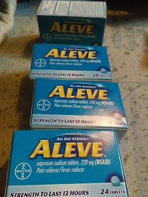 LOT OF FOUR-Aleve Tablets 24-Count Naproxen sodium, 220 mg tablets TOTAL = 96