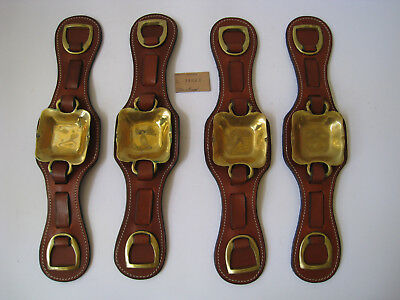 Solid Brass Square Medallion 4 Leather Straps Horse Harness Industria Argentina