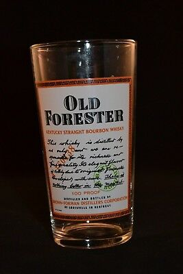 Rare Old Forester Kentucky Bourbon Whiskey Collins Glass, Made in France