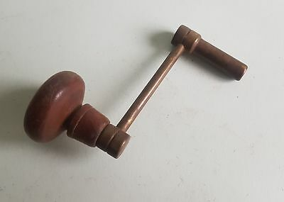 Antique Crank Grandfather Clock key brass and wood 4.25mm No.8