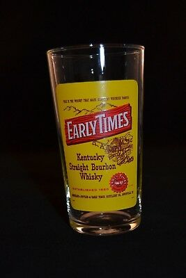 Rare, Early Times Kentucky Bourbon Whiskey Collins Glass, Made in France