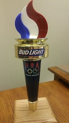 """NOS NO BOX BUDWEISER BUD LIGHT OLYMPIC TORCH 10-1/2"""" Beer Tap Handle"""