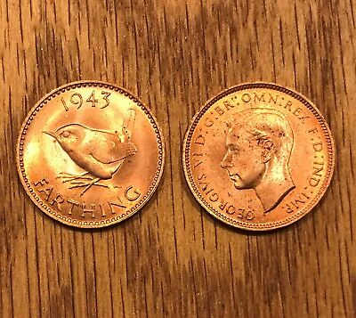 1943 Farthing U K Great Britain George VI  BU Red To Red/Brown  1 Coin   8003