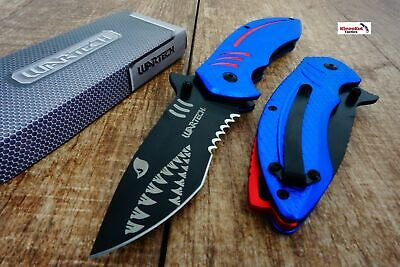 Blue Wartech PWT267 Thumb Open Blade Spring Assisted Shark Shape Pocket Knife