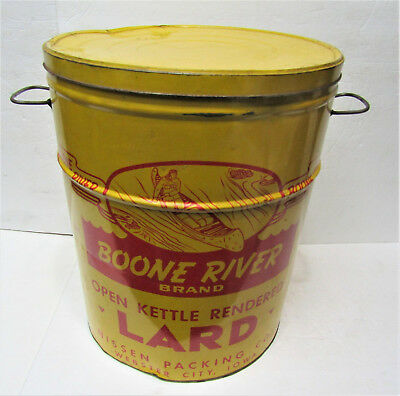Old BOONE RIVER BRAND Webster City Iowa 50 Lbs LARD Advertising Metal Tin Can