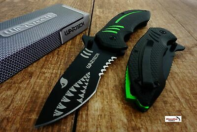 Green Wartech PWT267 Thumb Open Blade Spring Assisted Shark Shape Pocket Knife