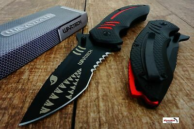 Black Wartech PWT267 Thumb Open Blade Spring Assisted Shark Shape Pocket Knife
