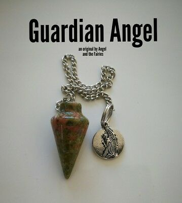 Code 421 Guardian Angel ARCHANGEL Michael Answers Unakite Infused Pendulum Angel