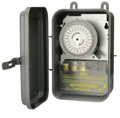 Woods 59101R Outdoor 120-Volt 40-Amp 24-Hour SPST Mechanical Time Switch with Me