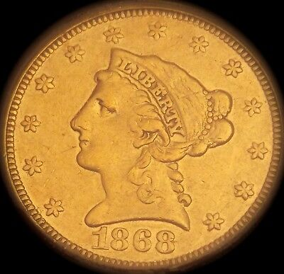 1868 Icg Ef-40 Details $2.5 - Very Nice Coin - No Visible Signs Of Mounting