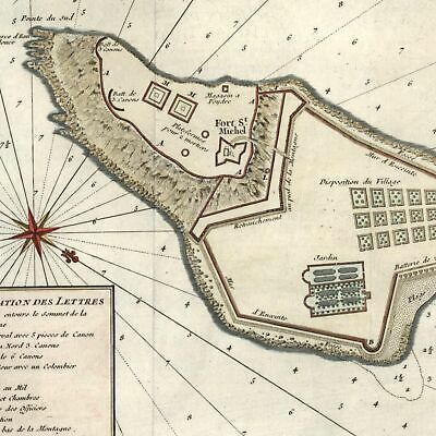 Goree Island Dakar Senegal West Africa slaves slave trade c.1746 Bellin old map