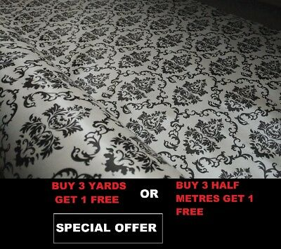 Black White Victorian Flowers Tablecloth Vinyl PVC Oilcloth Wipe/Clean Fabric