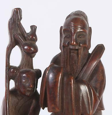 Fine China Chinese carved Wood Figural Group Scholar on Ox w/ Boy ca. 1900